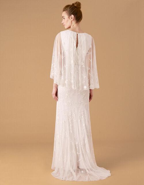 Zoey Floral Cape Bridal Dress, Ivory (IVORY), large