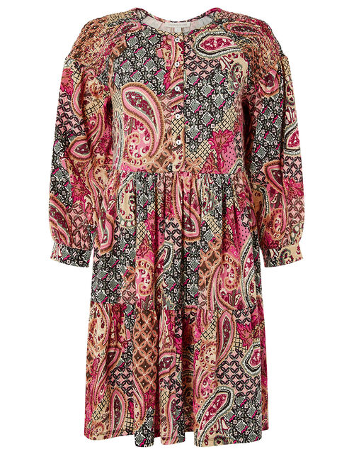 Heritage Print Smock Dress with Organic Cotton, Orange (ORANGE), large