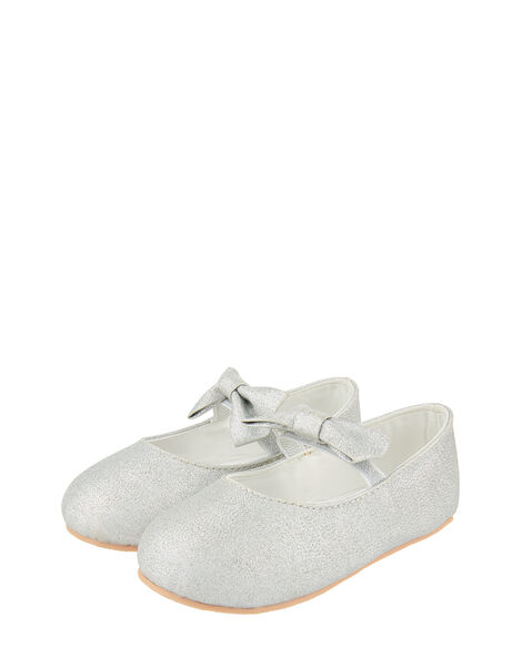 Baby Everly Sparkle Bow Flat Shoes Silver, Silver (SILVER), large