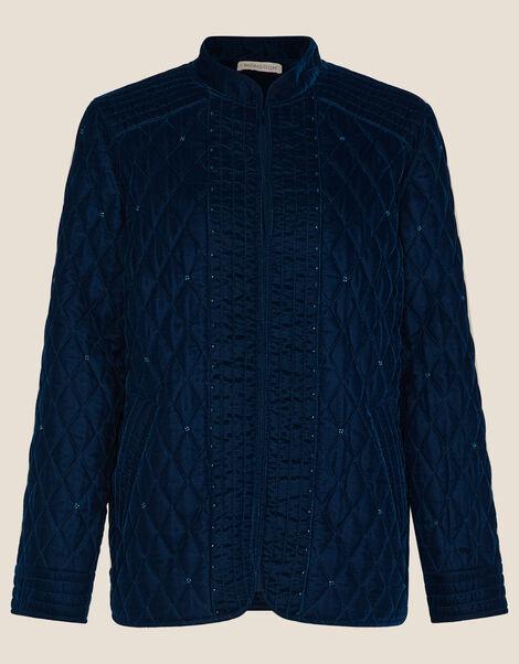 Quilted Velvet Jacket Blue, Blue (BLUE), large