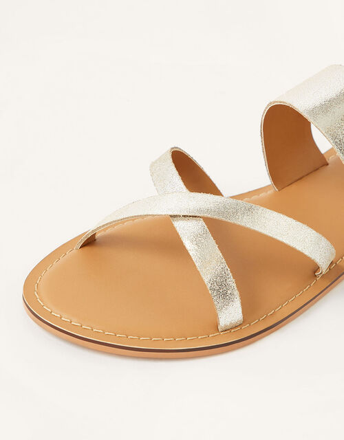 Metallic Leather Cross-Over Sandals, Silver (SILVER), large