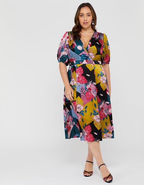 Rhi Rhi Printed Tea Dress, Teal, large