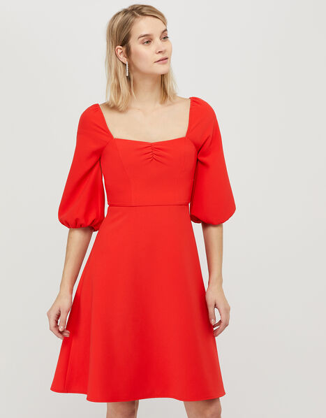 Sarah Sustainable Square Neck Dress Red, Red (RED), large