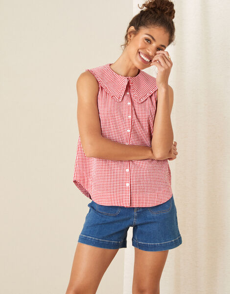 Gingham Sleeveless Top Red, Red (RED), large