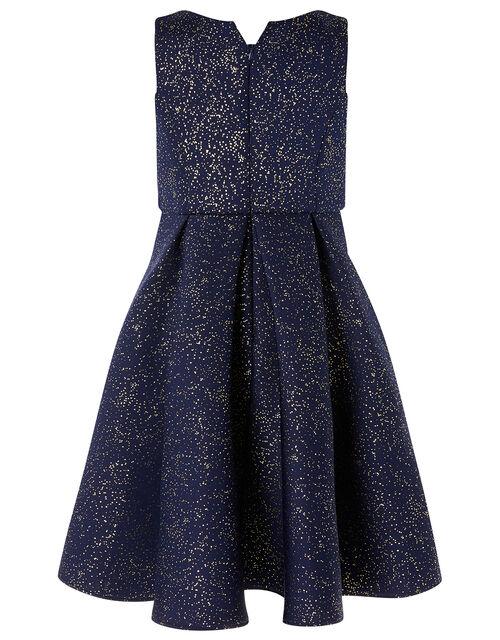 Foil Print Scuba Dress, Blue (NAVY), large