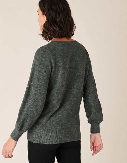 Pearl Heart Knit Jumper, Grey (CHARCOAL), large