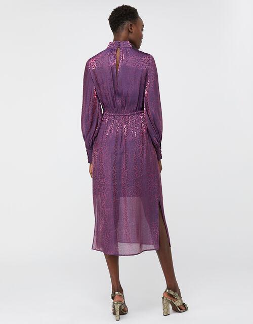 Phi Phi Animal Shimmer Midi Dress, Purple, large