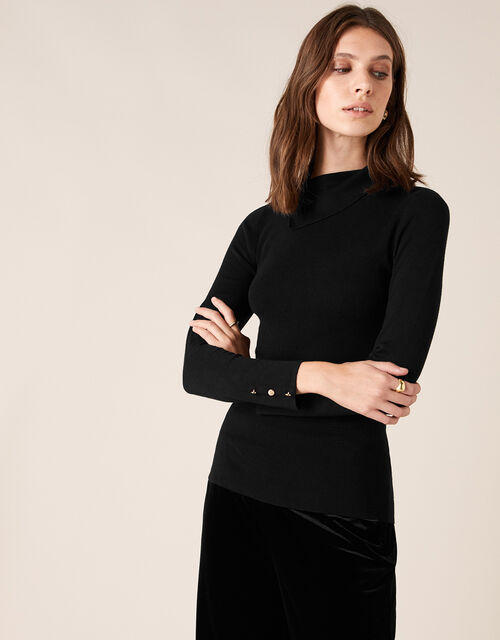 Split Neck Knit Jumper with Buttons, Black (BLACK), large