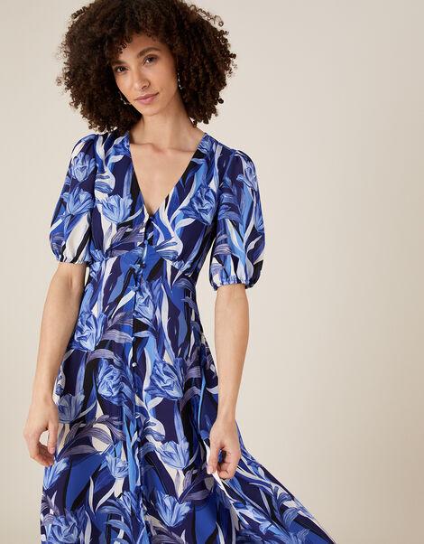 Tally Tulip Satin Tea Dress Blue, Blue (NAVY), large