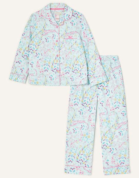 Polly Printed Flannel Pyjama Set Blue, Blue (AQUA), large
