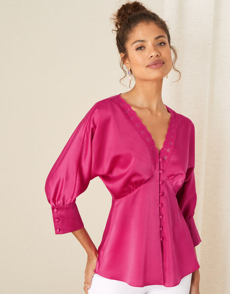 Chelsea Lace Trim Satin Top Pink, Pink (PINK), large