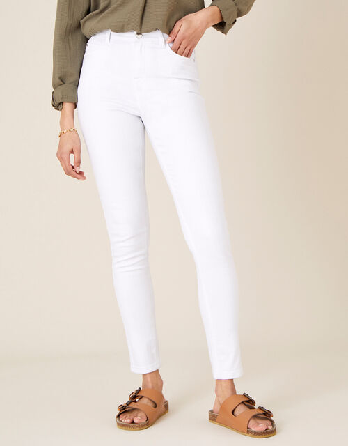 Iris Regular-Length Skinny Jeans, White (WHITE), large