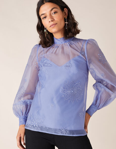 Aubree Floral Embroidery Organza Blouse Blue, Blue (BLUE), large