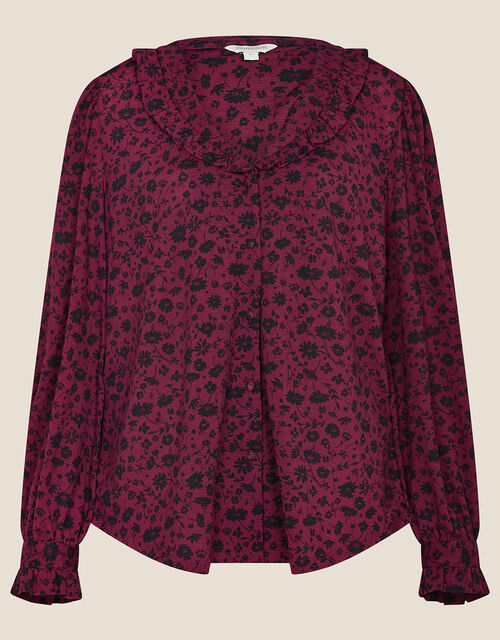 Lizabeth Floral Print Collar Top, Red (BURGUNDY), large