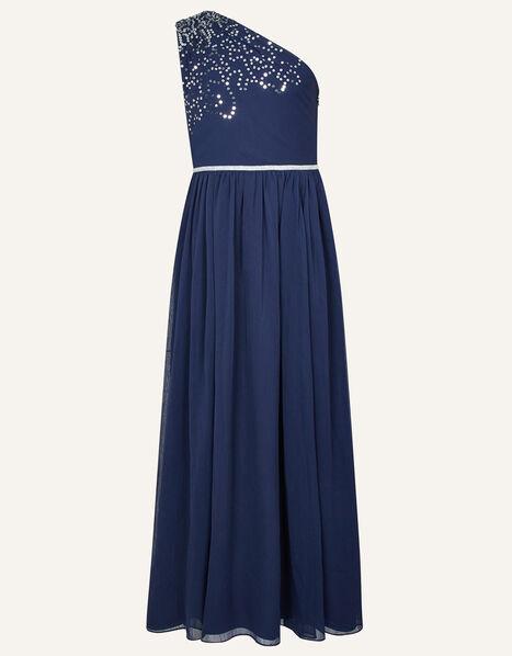 Scatter Sequin Prom Dress Blue, Blue (NAVY), large