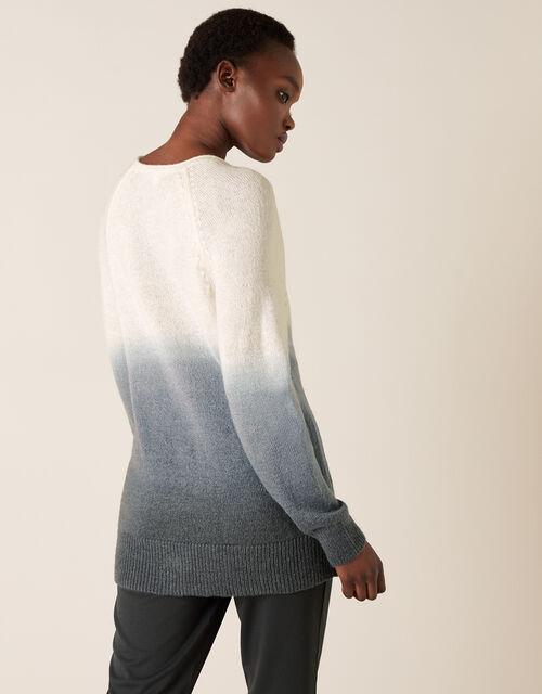 V-Neck Dip-Dye Knit Jumper, Grey (GREY), large