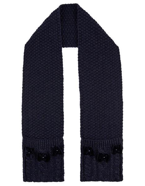 Velvet Bow Sparkle Knit Scarf, , large