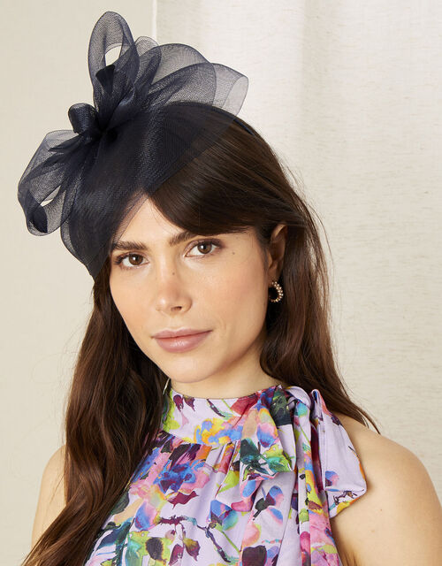 Crin Bow Fascinator , Blue (NAVY), large
