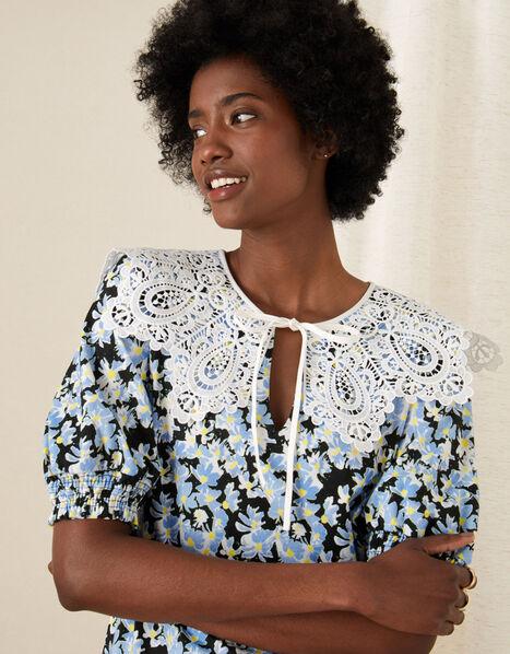 Zita Lace Collar Floral Jersey Top Black, Black (BLACK), large