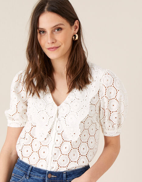Mia Wide Collar Broderie Blouse Ivory, Ivory (IVORY), large
