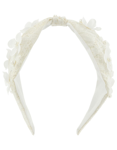 Flower Bud and Lace Knot Headband, , large