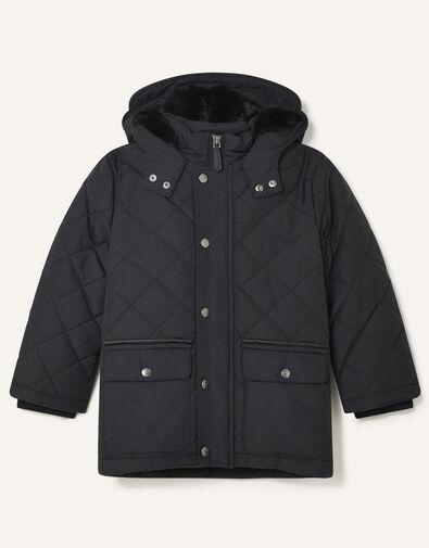 Quilted Hooded Coat Black, Black (BLACK), large