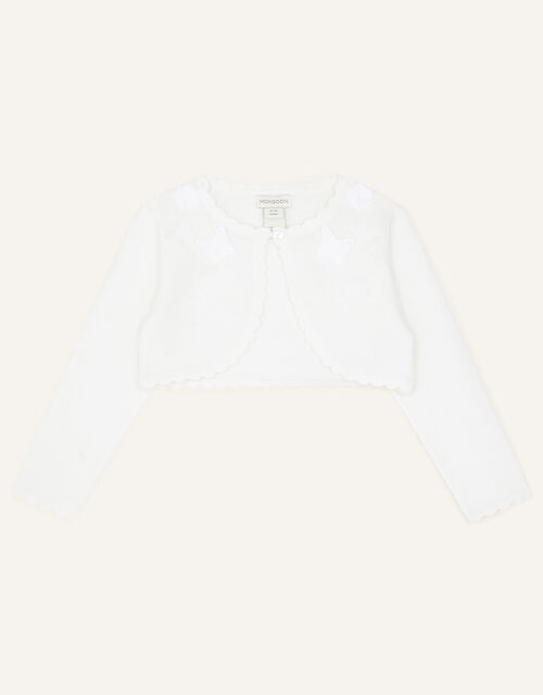 Baby Flower and Butterfly Cardigan, Ivory (IVORY), large