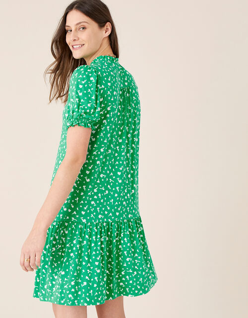 Cosima Ditsy Floral Short Dress, Green (GREEN), large