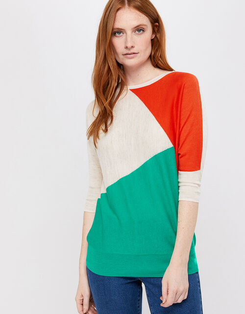 Cleo Colour-Block Jumper in Linen Blend, Multi, large