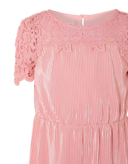 Lace Yoke Plisse Jumsuit, Pink (PINK), large