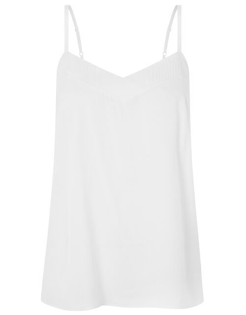 Mae Pleat V-neck Cami Top, Ivory (IVORY), large