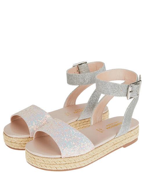 Mermaid Glitter Espadrille Sandals, Silver (SILVER), large