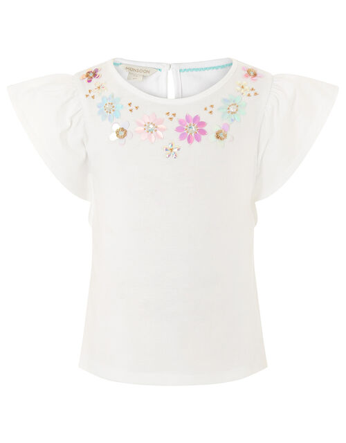 Gem Neckline T-Shirt , White (WHITE), large