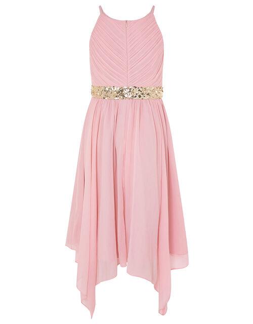 Pleated Chiffon Hanky Hem Dress, Pink (DUSKY PINK), large