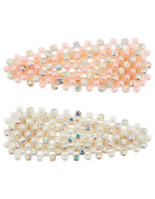 Crystal-Embellished Hair Clips, , large