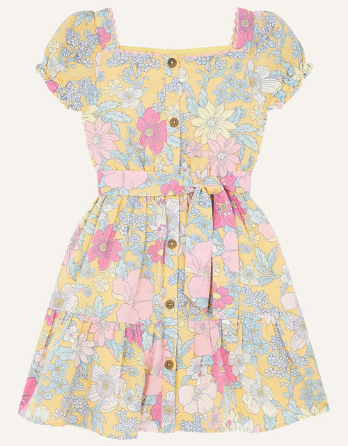 Floral Puff Sleeve Dress in Linen Blend, Yellow (YELLOW), large