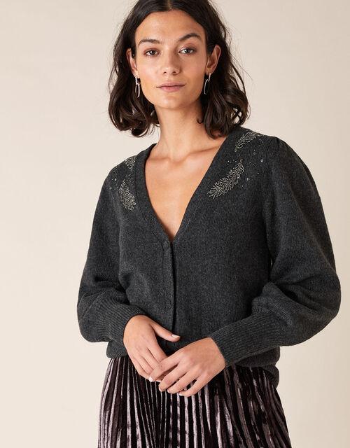 Feather Embellished Short Knit Cardigan, Grey (CHARCOAL), large