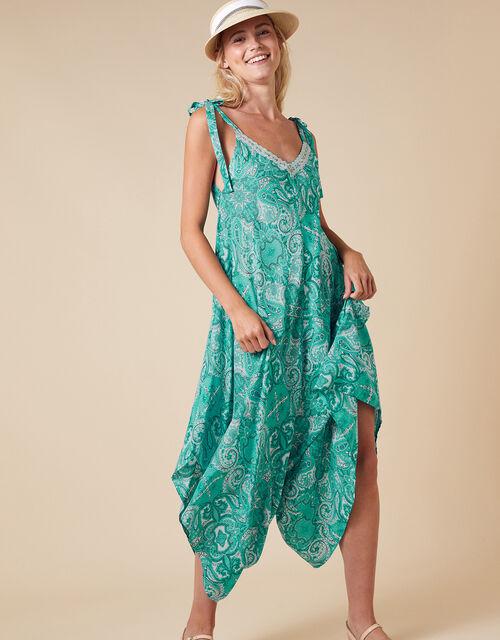 Paisley Print Romper in LENZING™ ECOVERO™, Green (GREEN), large
