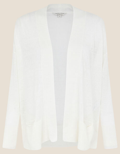 Lily Pocket Cardigan in Pure Linen, Ivory (IVORY), large