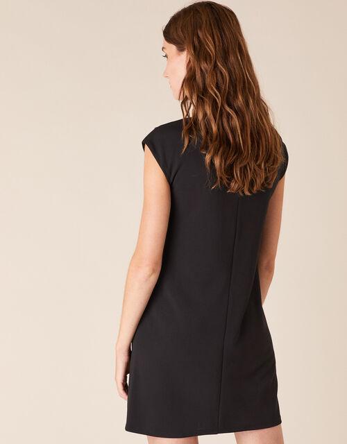 Betty Gem Brooch Stretch Short Dress, Black (BLACK), large