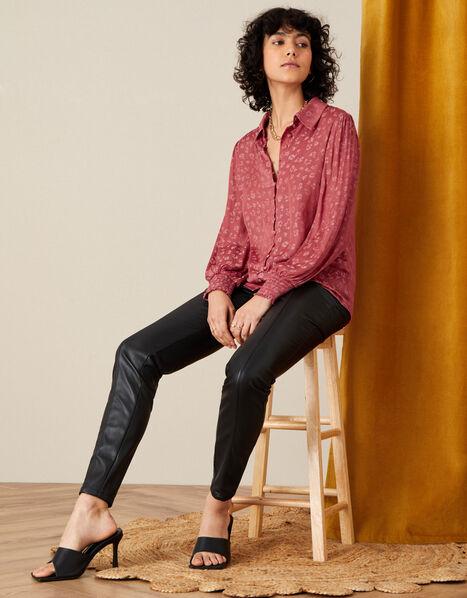 Animal Jacquard Long Sleeve Shirt Pink, Pink (ROSE), large