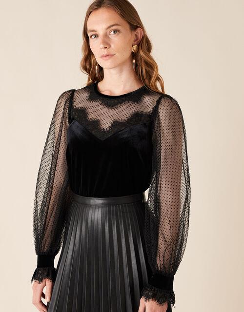 Lisandra Lace and Velvet Blouse, Black (BLACK), large