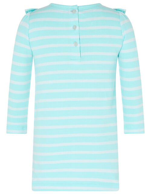Baby Horse Stripe Sweat Dress in Organic Cotton, Blue (AQUA), large