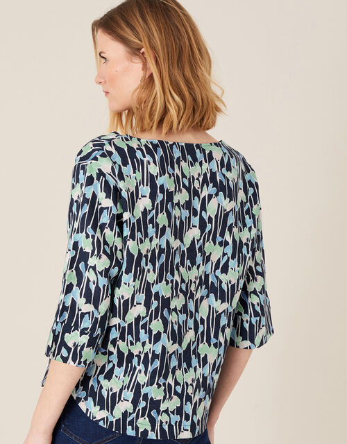 Lulu Printed Shirt in Pure Linen, Blue (NAVY), large