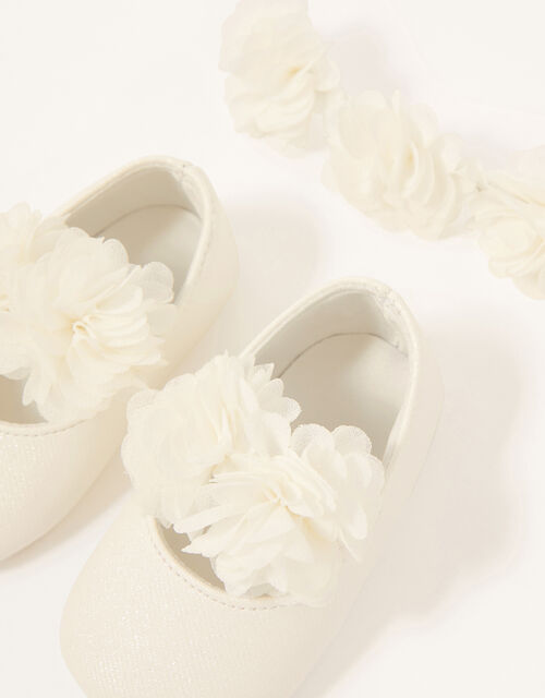 Baby Macaroon Corsage Bando and Bootie Set, Ivory (IVORY), large