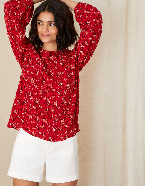 Frill Collar Ditsy Floral Blouse Red, Red (RED), large