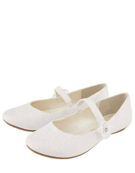 Tiana Shimmer Lace Corsage Ballerina Shoes Ivory, Ivory (IVORY), large