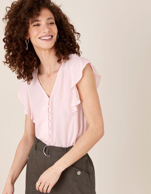 Ruffle Short Sleeve Blouse, Pink (BLUSH), large