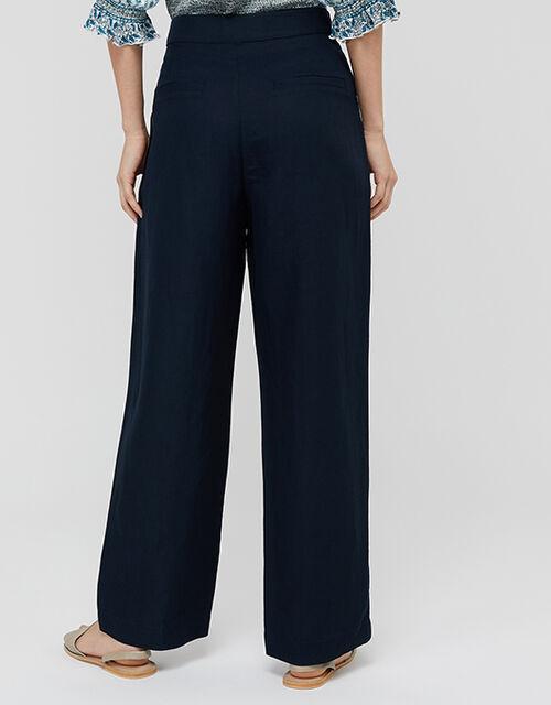 Charlotte Regular-Length Trousers in Linen Blend, Blue (NAVY), large