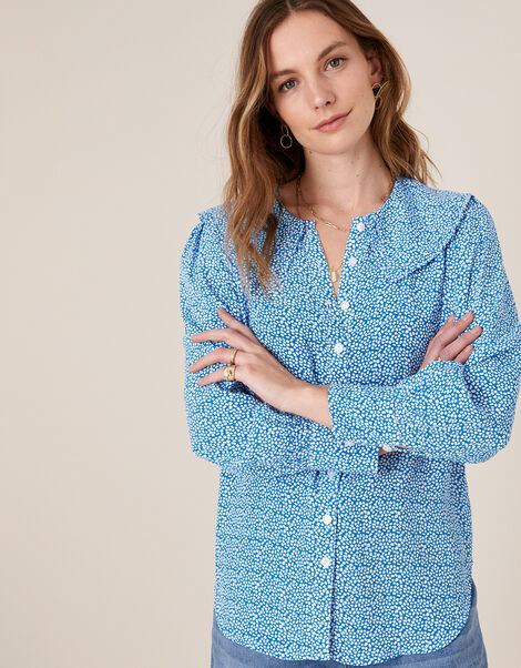 Printed Wide Collar Blouse Blue, Blue (BLUE), large